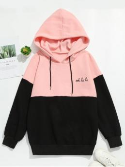Winter Letter and Patchwork Micro-elastic Full Regular Drop Hooded Hoodie Graphic Fleece Lining Two Tone Hoodie