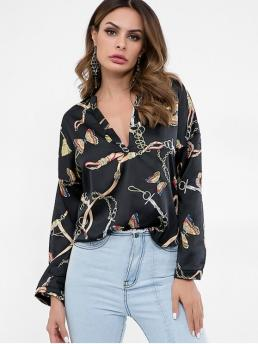 Black Slit Butterfly and Print Full Regular V-Collar Casual Daily Slit Sleeves Butterfly Chains Print Blouse