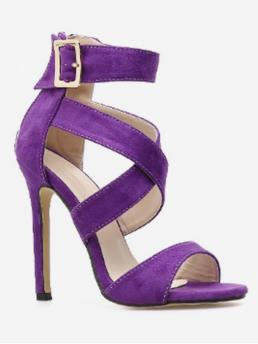 Suede Buckle Solid Buckle Stiletto Ankle Daily Fashion For Crisscross Stiletto Heel Sandals
