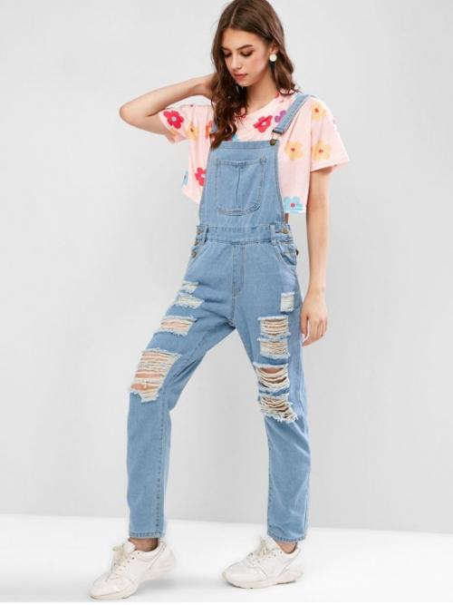 Fall and Spring No Button and Pockets Solid Nonelastic Sleeveless Square Normal Regular Fashion Casual and Daily and Going Pockets Destroyed Denim Straight Overalls