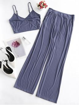 No Fall and Summer Striped Flat Zipper High Sleeveless Spaghetti Loose Casual Beach Striped Cami Wide Leg Pants Co Ord Set