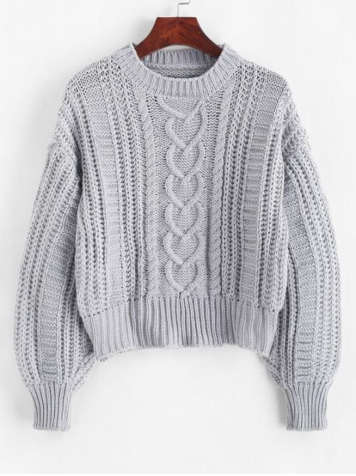 Autumn and Spring and Winter Solid Elastic Full Round Short Regular Fashion Daily and Going Pullovers Solid Pullover Cable Knit Chunky Sweater