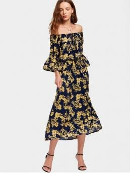 Fall and Spring No Floral 3/4 Mid-Calf Off Straight Casual and Going Brief Off The Shoulder Flare Sleeve Floral Dress
