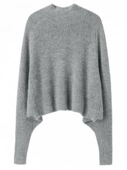 Full Crew Fashion Pullovers Dolman Sleeve Plain Sweater