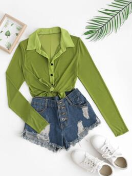 Shopping Full Sleeve Polyester,spandex Solid Color Green Mesh See Thru Button up Blouse