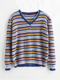 Autumn and Winter Stripe Nonelastic Full Drop V-Collar Regular Loose Casual Daily Pullovers Loose Color Block Striped Sweater