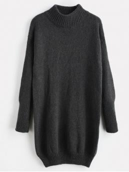 No Winter Solid Long Drop Mock Mini Straight Casual  and Day Casual Mock Neck Shift Sweater Dress