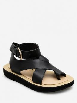 Summer PU Rubber Solid Buckle Flat Ankle Casual and Daily Fashion For Solid Simple Campagus Flat Sandals