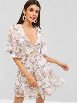 Yes Summer Nonelastic Floral Ruffles Short V-Collar Mini A-Line Vacation Fashion Open Back Frilled Ruffles Floral Dress