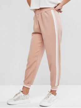 Fall Elastic Jogger Striped Regular High Casual Side Striped High Waisted Jogger Pants