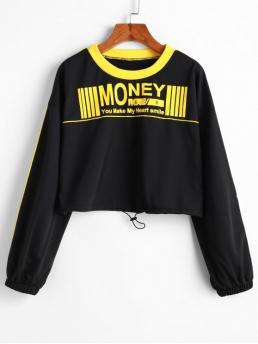 Autumn Letter Nonelastic Full Short Drop Crew Sweatshirt Money Graphic Piping Cropped Sweatshirt