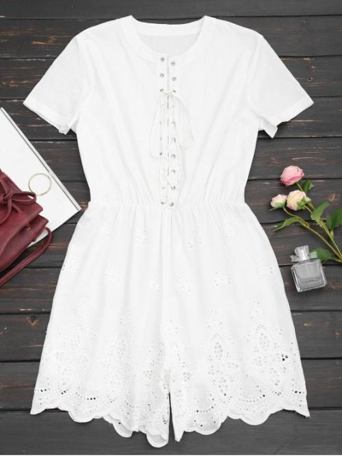 No Hollow Solid Regular Casual Lace Up Hollow Out Romper