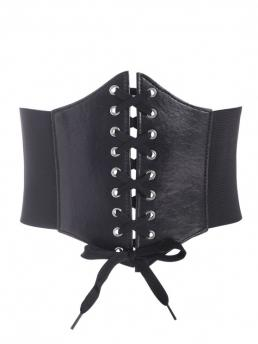 Trending now Polyester,spandex Solid Black Fashion Lace-up Faux Leather Panel Corset Belt
