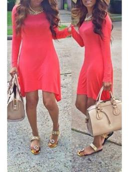 Spring and Summer and Fall No Solid Long Round A-Line Mini Casual Long Sleeve Solid Color Irregular Hem Mini Dress