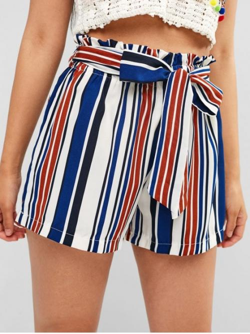 Summer Yes Striped Flat Elastic High Regular Casual Contrast Striped Belted Shorts