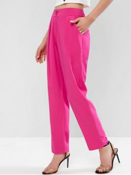 Fall Zipper Straight Solid Pleated Tapered High Casual High Waist Pleated Front Solid Pants