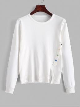 Autumn Button and Slit Solid Nonelastic Full Crew Regular Regular Casual Daily Pullovers Button Embellished Front Slit Plain Knitwear