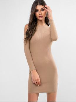 No Fall Solid Long Round Mini Sheath Casual Casual Cold Shoulder Ribbed Solid Sheath Dress