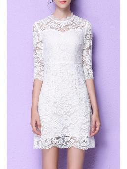 Fall No Solid 3/4 Round Knee-Length A-Line Outer Day Casual Lace Flounce Ruffles A-Line Dress