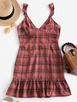 No Summer Nonelastic Plaid Cut Sleeveless V-Collar Mini Sundress A-Line Casual and Day Sexy Ruffle Knot Plaid Dress