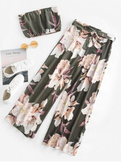 Yes Summer Floral Flat Elastic High Nonelastic Sleeveless Strapless Regular Fashion Beach Floral Bandeau Top And Wide Leg Pants Set