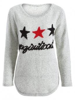 Fall and Spring and Winter Star Fashion Round Full Pullovers Star Letter Pattern Sweater