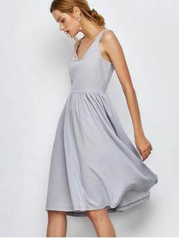 Summer No Solid Sleeveless V-Collar Knee-Length A-Line Causal and Day and Work Brief Knee Length A Line Dress