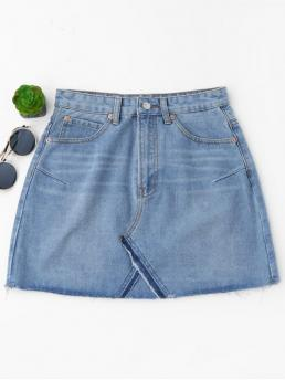 Light Blue No Others A-Line Mini Denim High Waisted Cutoffs Mini Denim Skirt