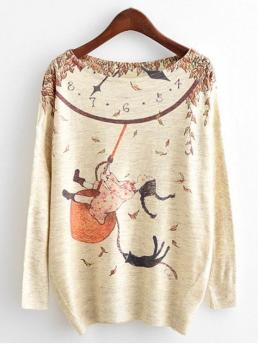 Fall and Spring Character Fashion Round Full Pullovers Dolman Sleeve Cartoon Print Knitwear