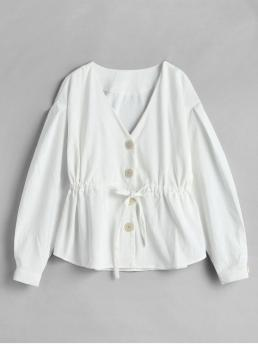 No Autumn and Spring Solid Single Plunging Full Regular Wide-waisted Fashion Jackets Daily and Going Corduroy Drawstring Single Breasted Jacket