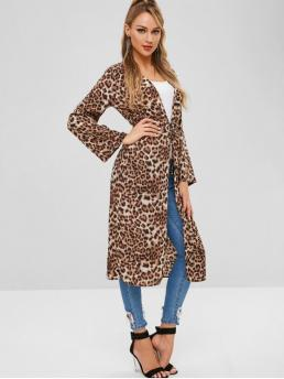 Autumn and Spring No Leopard Collarless Full Long Wide-waisted Long Daily and Going Fashion Belted Leopard Duster Coat