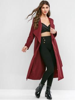 Autumn and Winter Yes Solid Turn-down Full Long Wide-waisted Daily and Going Fashion Roll Tab Sleeve Long Slit Belted Turndown Collar Coat