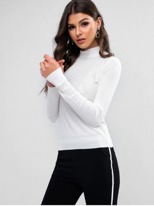 Autumn and Spring and Winter Solid Elastic Full Mock Regular Slim Fashion Daily and Going Pullovers Solid Slim Mock Neck Pullover Sweater