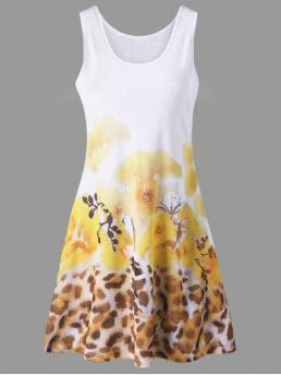 Summer No Floral Sleeveless U Mini A-Line Casual Floral and Leopard Print Summer Tank Dress