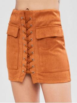 Spring and Summer Zipper Solid Bodycon Mini Daily and Going Fashion Lace Up Faux Suede Skirt
