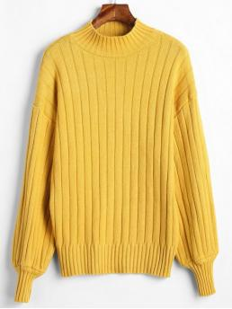 Autumn Solid Micro-elastic Full Drop High Regular Loose Casual Daily Pullovers Mock Neck Drop Shoulder Loose Sweater