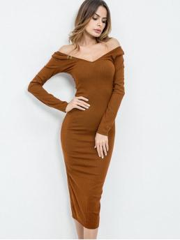 No Spring Solid Long Off Mid-Calf Sheath Casual and Day Brief Off Shoulder Long Sleeves Knit Dress