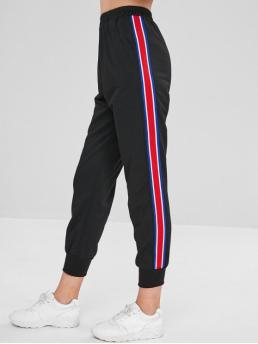 Fall and Spring and Summer Elastic Jogger Striped Pockets Regular High Casual Ribbon Insert Elastic Waist Jogger Pants