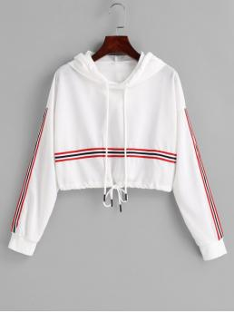 Autumn and Spring Striped Full Short Drop Hooded Crop Drawstring Cropped Stripes Hoodie