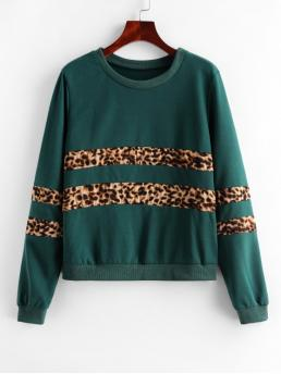 Autumn Leopard Full Regular Sweatshirt Leopard Panel Animal Print Ribbed Hem Sweatshirt