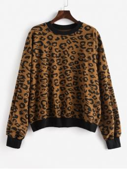 Autumn and Winter Leopard Full Regular Drop Crew Sweatshirt Leopard Drop Shoulder Ribbed Hem Oversized Sweatshirt