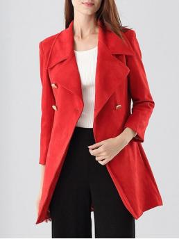 Fall and Spring and Winter Fashion Button Solid Lapel Full Long Slim Leather Double-Breasted Faux Suede Coat