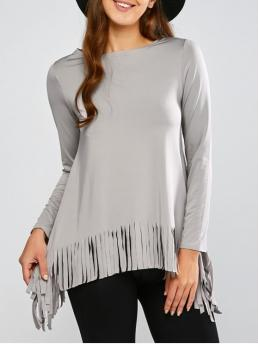 Fall and Spring Solid Full Round Fashion Fringed Asymmetrical Tee