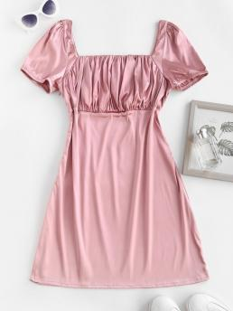 Clearance Light Pink Solid Short Sleeves Polyester Silky Milkmaid Dress