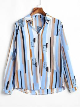 Autumn and Spring Striped Full Regular V-Collar Fashion Daily Stripes V Neck Top