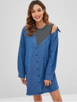 No Fall and Spring Striped Epaulet Long Shirt Knee-Length Straight Day Brief Layered Look Denim Shirt Dress