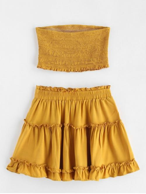 Summer Ruffles Solid Flat Elastic High Sleeveless Bandeau A Casual Casual Smocked Bandeau Top and Skirt Set