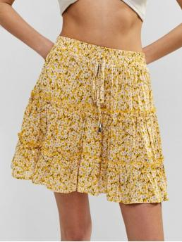 No Summer Elastic Flounce Floral A-Line Mini Daily and Vacation Fashion Floral Flounce Mini Frilled Skirt