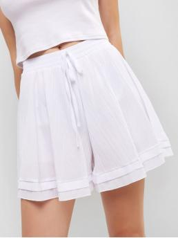 Summer Solid Flat Elastic High Loose Casual High Waist Knotted Wide Leg Shorts
