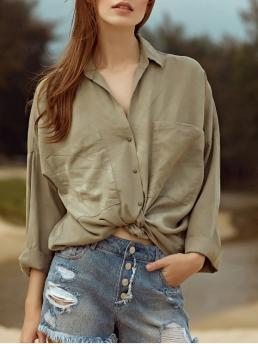 Solid Three Long Turn-down Casual Loose Pockets Turn-Down Collar 3/4 Sleeve Shirt
